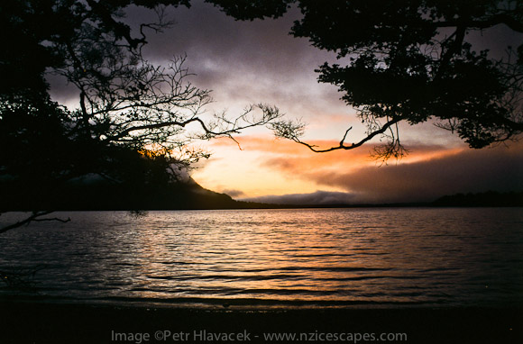Sunset over Lake Alabaster on Hollyford Track - Fiordland NP, Southland, New Zealand