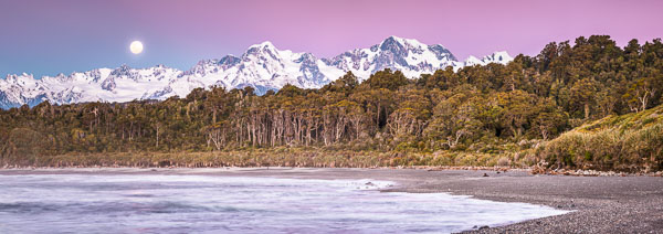 Moonrise over Mount Tasman and Aoraki, Mount Cook