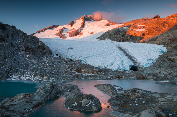 Sunset on Mount Brewster and its glacier