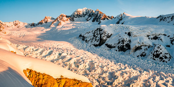 Mount Tasman and Fox Glacier at Sunset