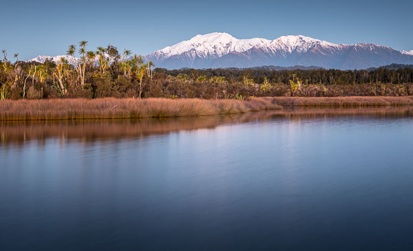Okarito Lagoon with Mount Adams