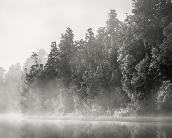 Lake Matheson Mist B&W